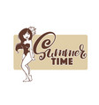 summer time beach banner in retro stile with vector image vector image