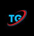 tg t g letter logo design initial letter tg vector image vector image