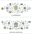 Thin Line E-commerce and Online Shopping Concepts vector image