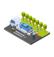 tow truck isometric roadside assistance vector image vector image