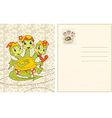 Vintage card with funny baby-dragon vector image