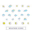 yellow and blue weather theme icon set on vector image