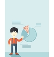 Young man with his financial pie chart vector image vector image