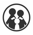 Family in circle black and white simple icon vector image