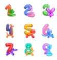 Birthday anniversary numbers with balloons animals vector image