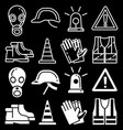 line and silhouettes personal protective equipment vector image