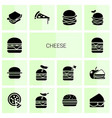 14 cheese icons vector image vector image