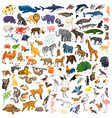 animals icon set cartoon style vector image vector image