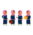 arab muslim girl school girl kid poses set vector image vector image
