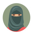 arabic muslim woman portrait in niqab isolated vector image vector image