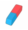 Blue and red rubber pencil eraser icon vector image