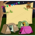 campsite with a giant board stretched behind tents vector image vector image