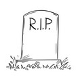 cartoon drawing of tombstone with rip or rest in vector image