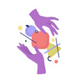 cartoon human hands holding abstract geometric vector image vector image