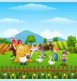 cartoon little farmers with animals at the farm vector image