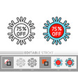 christmas new year snowflake percent off line icon vector image