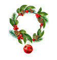 christmas wreath red jungle bell hanging vector image vector image