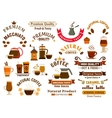 Coffee and desserts icons for cafe signboards vector image vector image