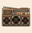 colorful portable retro cassette recorder vector image