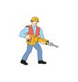 Construction Worker Holding Jackhammer Cartoon vector image vector image
