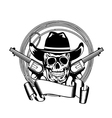 cowboy and two pistols vector image