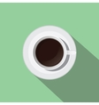 cup of black coffee from top flat with long shadow vector image
