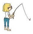 cute cartoon girl fishing with rod isolated hand vector image vector image