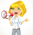 Cute girl emotionally shouts in a megaphone vector image vector image