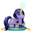 cute shining unicorn pony with a golden horn lies vector image
