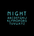 decorative sans serif font with neon effect vector image