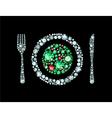 Diamond Plate With Knife And Fork vector image vector image