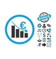 Euro Recession Flat Icon with Bonus vector image vector image