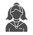female receptionist solid icon administrator vector image