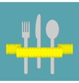 Fork knife and spoon with measuring tape ribbon vector image