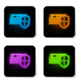 glowing neon money protection icon on white vector image vector image