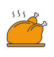grilled whole chicken color icon vector image