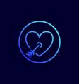 heart pierced with arrow icon vector image vector image