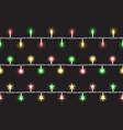 holiday lights garlands horizon seamless vector image