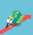 isometric business people push world forward vector image vector image