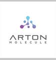 letter a molecule logo neuron networking tech vector image vector image