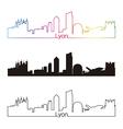 Lyon skyline linear style with rainbow vector image
