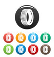 machine tire icons set color vector image vector image