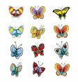 Many Different Butterflies Isolated Collect vector image