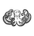 octopus engraving vintage black engraving vector image
