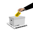 Peoples hands enter their votes into vote box