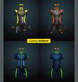 realistic cycling uniforms branding mockup vector image vector image