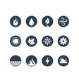 round icon set fire water earth and air vector image vector image