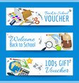 school items voucher background vector image vector image