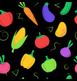 seamless pattern with colored vegetables on black vector image