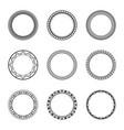 set black vintage circular frames with ornament vector image vector image